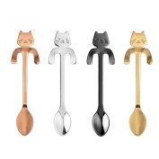 Provone Little Teaspoons Cute Cat Stainless Steel Coffee Spoon Multi-functional Kitchen Tools Set 4PCS