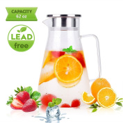 Glass Pitcher Uten Clear Water Pitcher with Solid Handle+ Anti-overflow V-opening Mouth Pour Premium Refrigerator Pitcher for Juice,Coffee,Ice Cold Water,Hot Water,Tea,etc. [1.8 L , 1830ml]