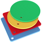 Vremi Silicone Trivet Set - 4 Heat Resistant Pot Holders Trivets for Hot Dishes - Colourful Decorative Square and Round Cooking Potholders Pads for Kitchen Table Countertop - Blue Red Yellow Green
