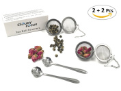 Cloudyfocus Mesh Tea Ball Strainers & Tea Scoop - 2pcs, Stainless Steel Tea Filters Loose Leaf Tea Infuser Strainers Interval Diffuser for Tea - 5.3cm