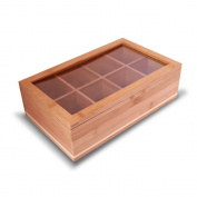 Everything Bamboo Wooden Tea Bag, Condiment or Small Accessories Storage Organiser Caddy with Clear Lid & 8 Compartments