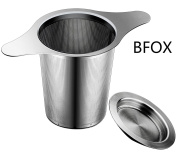 BFOX Extra Fine Mesh Stainless Tea Infuser Strainer with Perfect Size Double Handles & Lid