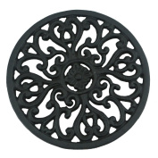 Ogrmar 17cm Diameter Decorative Cast Iron Round Trivet with Vintage Pattern for Rustic Kitchen Or Dining Table with Rubber Pegs