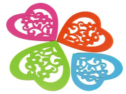 Teabloom Hot/Cold Slip-Proof Heart Shaped Silicone Coasters – Dishwasher-Safe, Microwave-Safe - Colourful, Protective, No-Scratch & Non-Stick Table Trivets 4pc Set