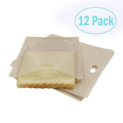 Toaster Bags (12 Pack) for Grilled Cheese Sandwiches , Reusable and Non-stick