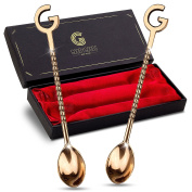 Classy Copper Cocktail Bar Spoon Set- 100% Pure Copper Mixing Bar Stirring Spoons - THE PERFECT GIFT