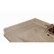 Satin Stone 60cm X 7.6cm Left Hand Side Splash for Wave Style Bathroom Vanity Top in Cappuccino