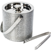 Ice Bucket for Parties - Insulated with Lid, Stainless Steel Double Walled with Handle for Carrying, 1.7 Litre - Ice Bucket with Tong by Colleta Home