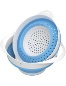 Vremi Collapsible Colander and Bowl Set - Heavy Duty BPA Free Silicone Pasta Strainer - Small Food Drainer with Plastic Base and Handle - Dishwasher Safe Foldable Vegetable and Fruit Strainers - Blue