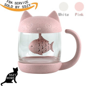 Pink Girly Cute Cat Teacup With Fish Filter Lovely Glass Cup Suit For Milk Jucie Tea Fruit Salad As Valentine's Day Gift