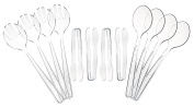 """Set of 12 Heavy Duty Disposable Plastic Serving Utensils! Four 10"""" Spoons and Forks, Four 6-1/2"""" Tongs! Clear Serving Sets Perfect for Parties, Events, BBQ's and More!"""