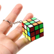 Plastic ABS Mini 3x3x3 Magic Cube Puzzle Stickers Keychain Ring Speed Fidget IQ Educational Toys Gift