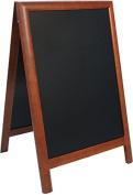 Securit 55 x 85cm Lacquered Finish Pavement Sandwich Duplo Chalk Board - Dark Brown