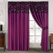 LUXURY Damask Curtains Pair Of Half Flock Pencil Pleat Window Curtain Fusion(TM) (66x72, purple) by fusion