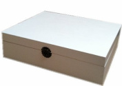 WOOD TEA BOX CADDY CHEST STORAGE 12 COMPARTMENT PAINTED IVORY WHITE