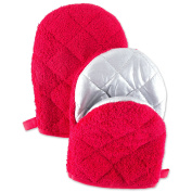 DII Cooking Pinch Mitts Mini Short Terry Oven (Set of 2), 19cm x 14cm , Red