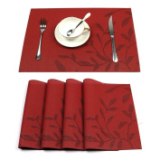 Placemats Set of 4 HEBE Heat-resistant Placemats for Dining Table Woven Vinyl Stain Resistant Table Mats Washable Placemat Easy to Clean