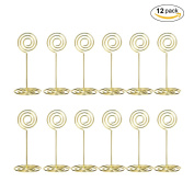 Table Photo - Aieve 12pcs Wire Shape Table Photo Holder Table Number Card Holders Table Pictures Stand for Wedding Party Gatherings Office Desk Memo Table Photo Clips