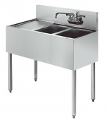 Stainless Steel Two Compartment Under Bar Sink Left Drainboard 36 x 18.5