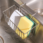 THETIS Homes Kitchen Sponge Holder, Sink Caddy Organiser Stainless Steel Holders Dishwashing Liquid Drainer Rack Bottle Brush Storage