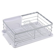 Wtape Modern Steel Rust Proof Kitchen In Sink Side Draining Dish Drying Rack, Dish Rack With White Drainboard