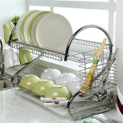 "2-Tier Dish Rack and DrainBoard 43cm x 15"" x 25cm Kitchen Chrome Cup Dish Drying Rack Tray Cultery Dish Drainer"