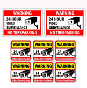 WISLIFE Video Surveillance Sign Set, 2 (25cm X 18cm ) Aluminium Warning Signs & 6 (15cm x 15cm ) Window Stickers, Video Security Signs