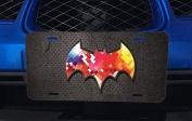 Colourful Bat Logo Symbol Design Print Image Pattern Aluminium Licence Plate for Car Truck Vehicles