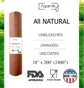 "All Natural, Kraft Pink Butcher Paper Roll - 18"" x 200' (2400"") USA Made Peach Wrapping Paper for Beef Briskets, BBQ Meat Smoking - FDA Approved Food Grade, Unbleached, Unwaxed, Uncoated Sheet"