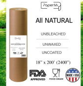"Kraft Brown Butcher Paper Roll - All Natural, USA Made Wrapping for Arts & Craft, Packaging, BBQ, Smoke Meat, Brisket - FDA Approved Food Grade, Unbleached, Unwaxed, Uncoated Sheet, 18"" x 200'"