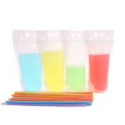 Zicome Reclosable Stand Up Drinks Pouches Bags with Plastic Flexible Straws, Set of 50