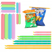 Plastic Bag Sealer Chip Clips Seal Sticks Sealing Bag Clamps (20PCs) by ZB, Multi-Length Eco-friendly, Watertight Airtight, Reusable, Easy to Storage, Keep Food Fresh and Stale Free