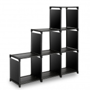 TomCare Cube Storage 6-Cube Closet Organiser Shelves Storage Cubes Organiser Cubby Bins Cabinets Bookcase Organising Storage Shelves for Bedroom Living Room Office, Black
