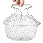 Chef Basket Stainless Steel Foldable Steam Rinse Strain Fry Cooking Tool for Fried Food or Fruits