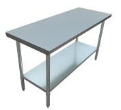 JET Stainless Steel Commercial Utility NSF Kitchen Prep and Work Table Holds Up to 410kg with Adjustable Galvanised Undershelf for Restaurants and Homes, 150cm Long x 60cm Wide, Silver