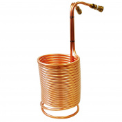 NY Brew Supply Wort Chiller with Garden Hose Fittings, 1.3cm x 15m, Copper