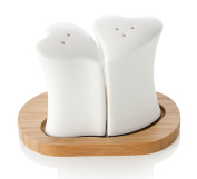 Brandani 55447 Porcelain Salt and Pepper Shakers with Bamboo Base