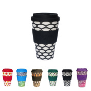 Colourful ECO coffee cups from Kaufdichgrün I thermo drinking cups with silicone lid and silicone cup sleeve I coffee to go cups ecological I coffee cups made from bamboo Basketcase 400 ml