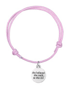 Fashion Wax Cord Bracelet She Believed She Could So She Did Engraved Message Charm for Women Jewellery