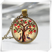 Tree of Life Necklace Bird Jewellery Pomegranate Fruit Tree Nature Art Pendant in Bronze
