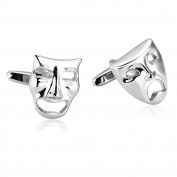 Bishilin Stainless Steel Comedy and Tragedy Drama Mask Shirt Cufflinks for Mens Silver Anniversary
