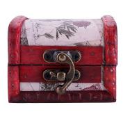 JuanYa Vintage Handmade Treasure Small Wooden Jewellery Box Ring Necklace Earrings Storage Organiser Case