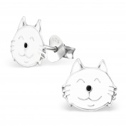 Silvadore - 925 Sterling Silver Childrens Stud Earrings - Cat White - Butterfly Clasp - .