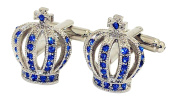 Covink® Girl Lady Women's Royal Crown Shape Blue Diamond French Shirt Cufflinks