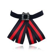 XY Fancy Women Fashion Cute Cloth Striped Bowknot Diamante Brooch Cute Bow Tie Corsage Ornament