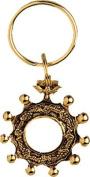 Catholic Rosary Beads Ring Key Ring Chain Antique Gold 7.6cm Presentation Card