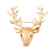 MESE London Gold Reindeer Broche Pin Christmas Vintage Brooch Rudolf High End Retro Reindeer Designer Costume Jewellery - Elegant Gift Box