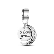 TINYSAND 925 Sterling Silver Charm Bead Pendant with I Love You To the Moon And Back Fit Europen Bracelet Mothers Day Gift