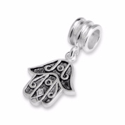 Silvadore - Silver Bead - Hamsa Hand 3 Finger Amulet Shape African Design Black Filled - 925 Sterling Charm 3D Slide On 641 - Fits Pandora European Bracelet - .