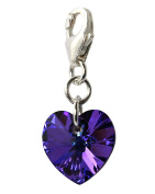 Heliotrope (Purple/Black Mix) Heart Clip Charm with Sterling Silver and Crystals from - Made by Black Moon - Free Gift Box